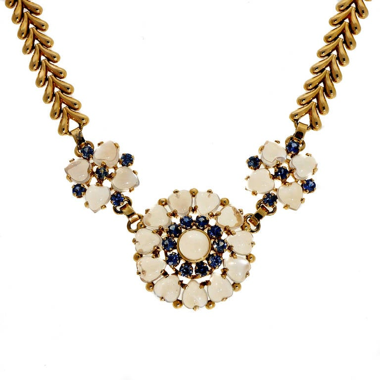 Art Deco Wefferling Berry & Co. Natural Moonstone Sapphire Yellow Gold Necklace For Sale