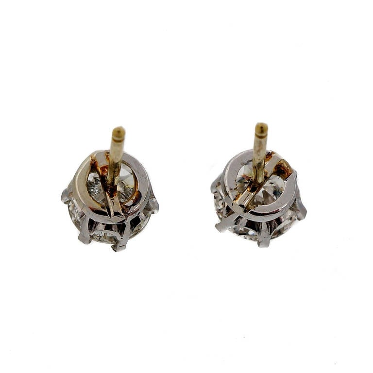 Art Deco Crown Style Diamond Yellow and White Gold Stud Earrings For Sale