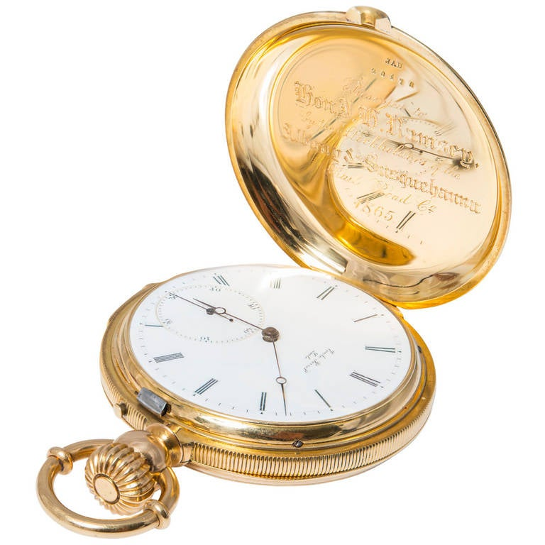 A & S Railroad Gold Minute Repeating Pocket Watch Presented to J.H. Ramsey 1865 For Sale