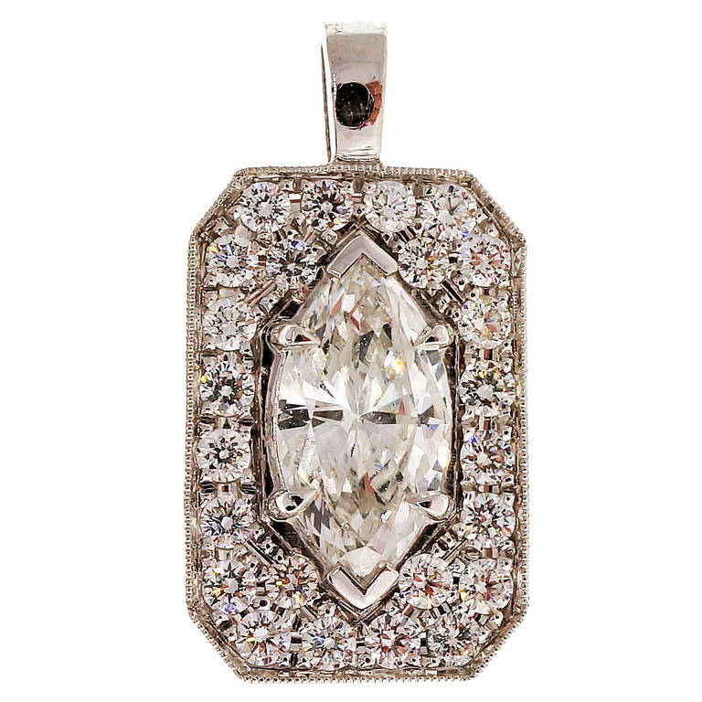 Peter Suchy Marquise and Pave Diamond Platinum Pendant