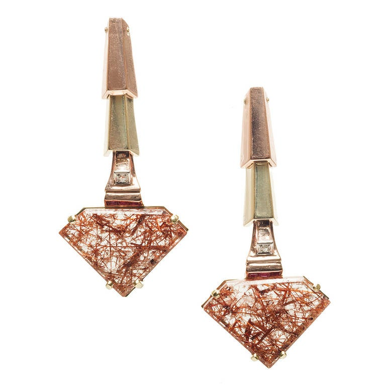 Peter Suchy Quartz Ruby Pink and Green Gold Dangle Earrings 1