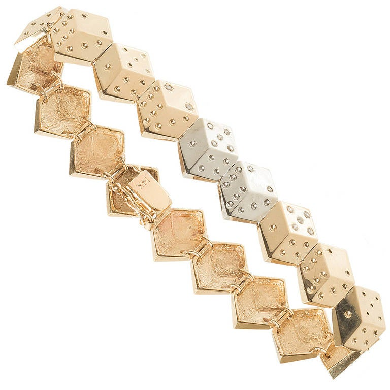 Diamond Gold Dice Bracelet