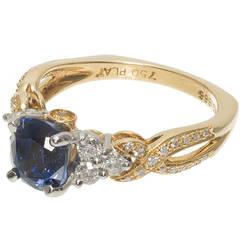 Krementz Sapphire Diamond Platinum Ring