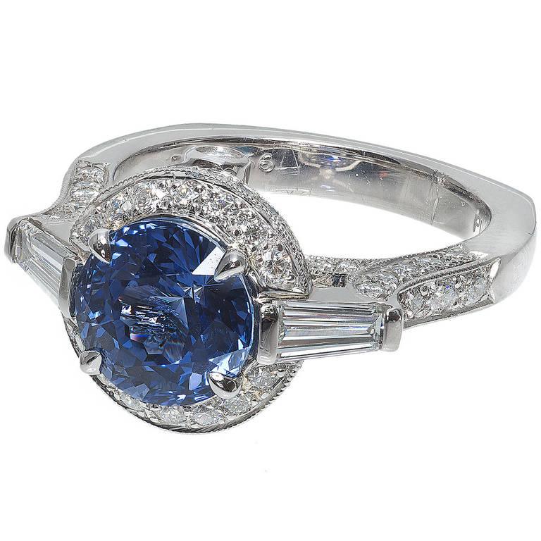 Krementz Natural Sapphire Diamond Platinum Ring