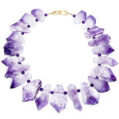 Natural Amethyst Quartz Yellow Gold Necklace