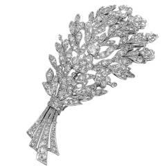 Diamond Pink Gold Platinum Flower Stem Pin