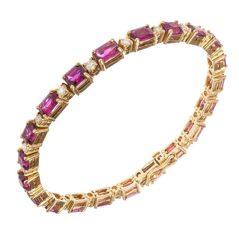 Emerald Cut Ruby Diamond Yellow Gold Bracelet
