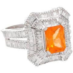 Yellow Orange Natural Spessartite Garnet Baguette Diamond Ring