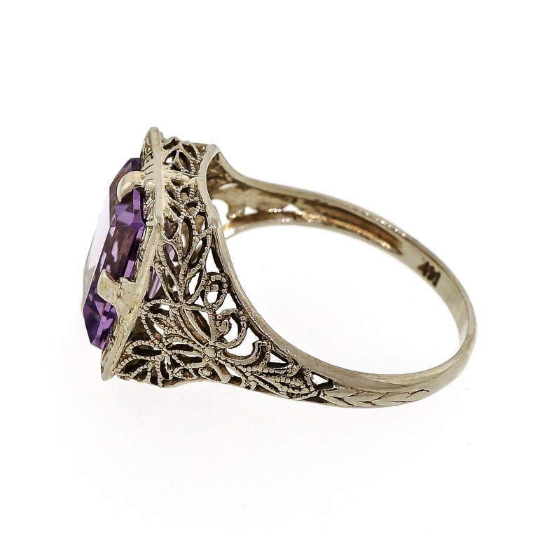 emerald cut amethyst white gold ring for sale at 1stdibs