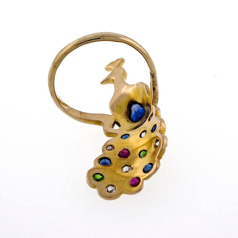 Sapphire Ruby Emerald Diamond Yellow Gold Peacock Ring at ...
