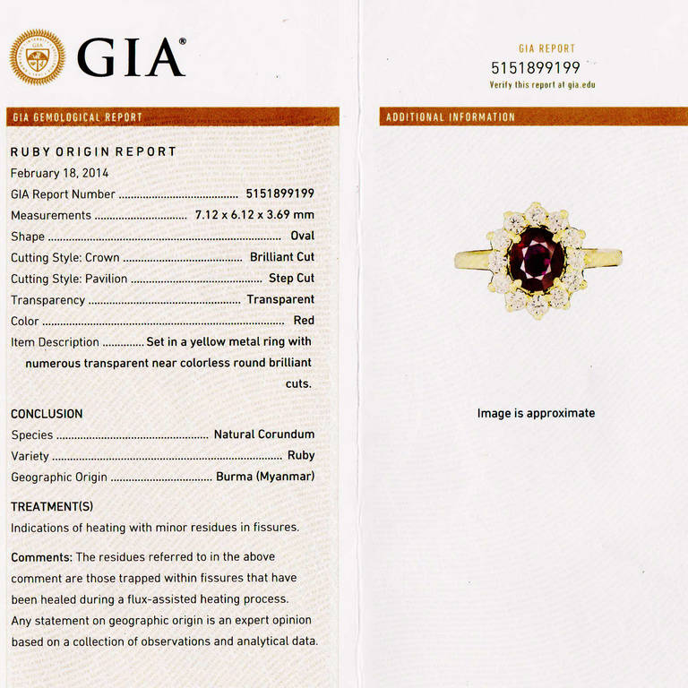 Women's 1.51 Carat Red Ruby Diamond Halo Yellow Gold Engagement Ring For Sale
