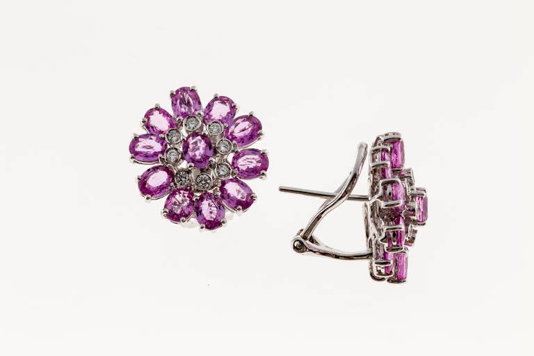 Pink Sapphire Diamond White Gold Cluster Earrings In Good Condition For Sale In Stamford, CT