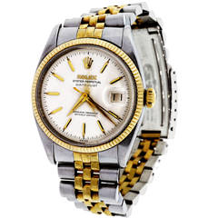 Rolex Stainless Steel and Yellow Gold Datejust Wristwatch Ref 6605