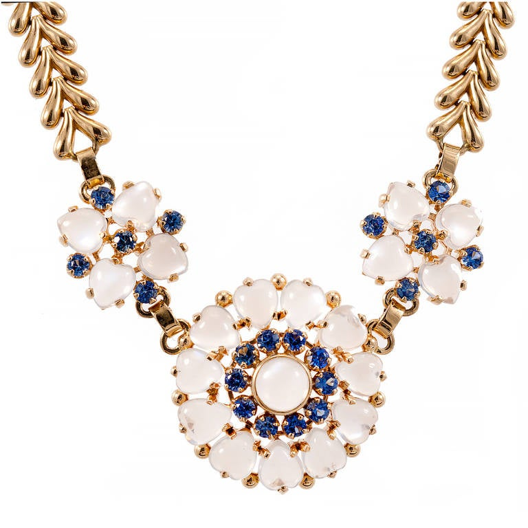 Wefferling Berry & Co. Natural Moonstone Sapphire Yellow Gold Necklace For Sale