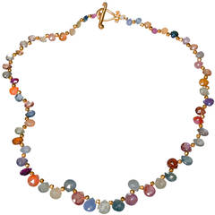 Robin Rotenier Multi-Color Sapphire Yellow Gold Necklace