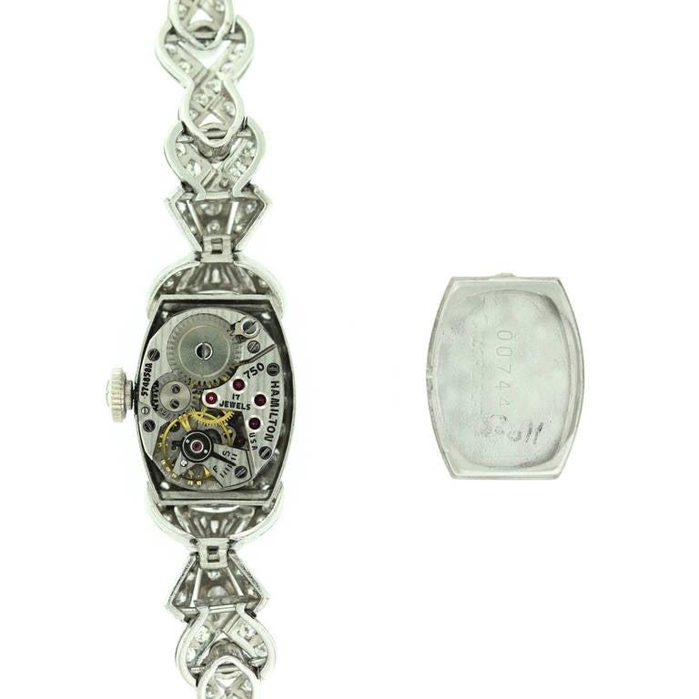 Tiffany & Co. Hamilton Ladies Platinum Diamond Bracelet Wristwatch, circa 1940 For Sale 3