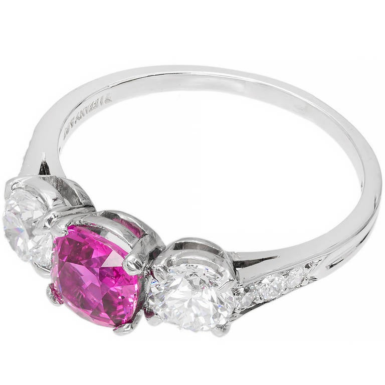 Tiffany and Co Cushion Cut Natural Pink Sapphire Diamond Platinum Ring at 1s