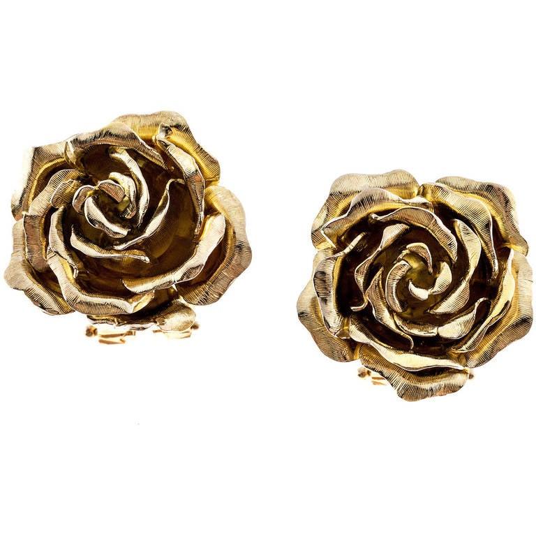 Tiffany & Co. Green Gold 3-D Clip Post Flower Earrings 1