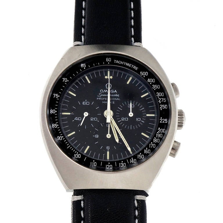 Omega Stainless Steel Speedmaster Mark II Chronograph Wristwatch In Good Condition For Sale In Stamford, CT