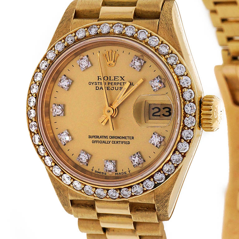 Rolex Lady's Yellow Gold and Diamond Datejust Wristwatch Ref 69138 In Good Condition For Sale In Stamford, CT