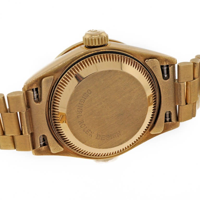 Women's Rolex Lady's Yellow Gold and Diamond Datejust Wristwatch Ref 69138 For Sale