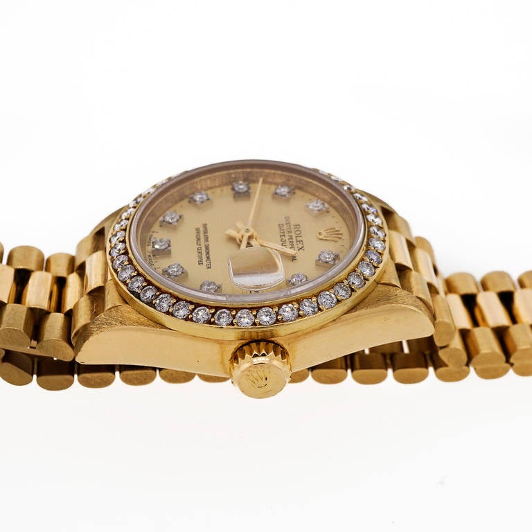 Rolex Lady's Yellow Gold and Diamond Datejust Wristwatch Ref 69138 For Sale 1