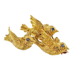 Tiffany & Co. Sapphire Yellow Gold 3-D Triple Bird Brooch