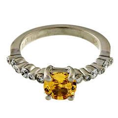 Natural Fancy Yellow Sapphire Diamond Platinum Ring
