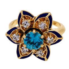 Black Enamel Blue Zircon Diamond Yellow Gold Flower Ring