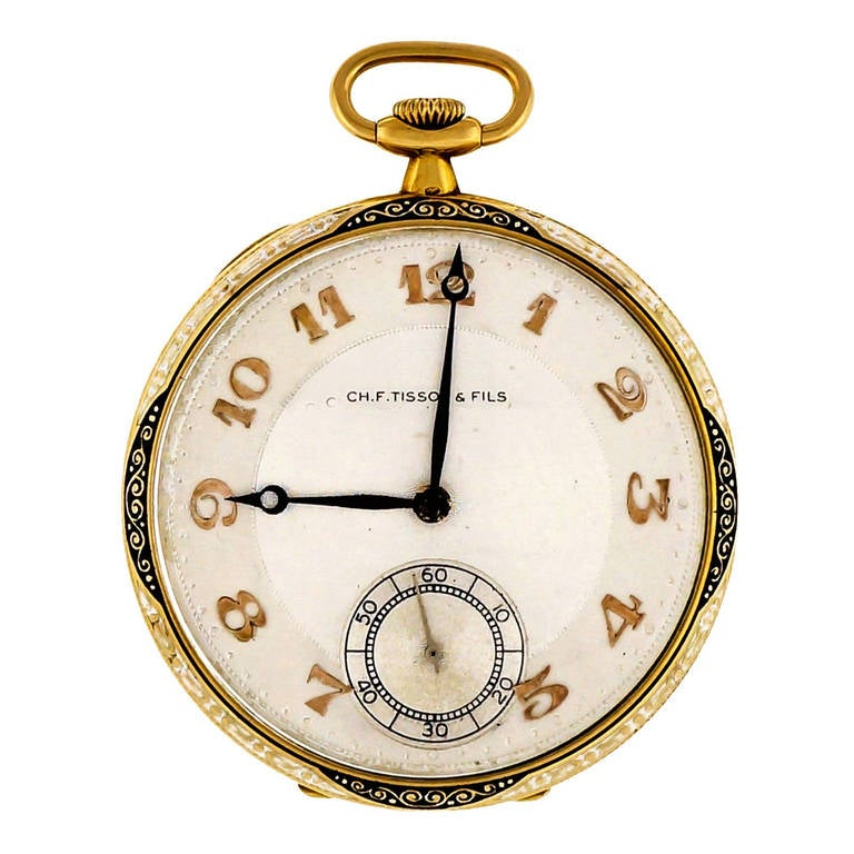 CH. F. Tissot Yellow Gold Pocket Watch circa 1930s