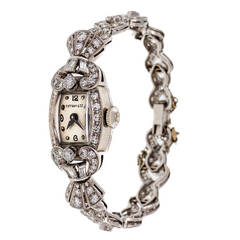 Hamilton Lady's Platinum and Diamond Wristwatch circa 1940s Retailed by Tiffany
