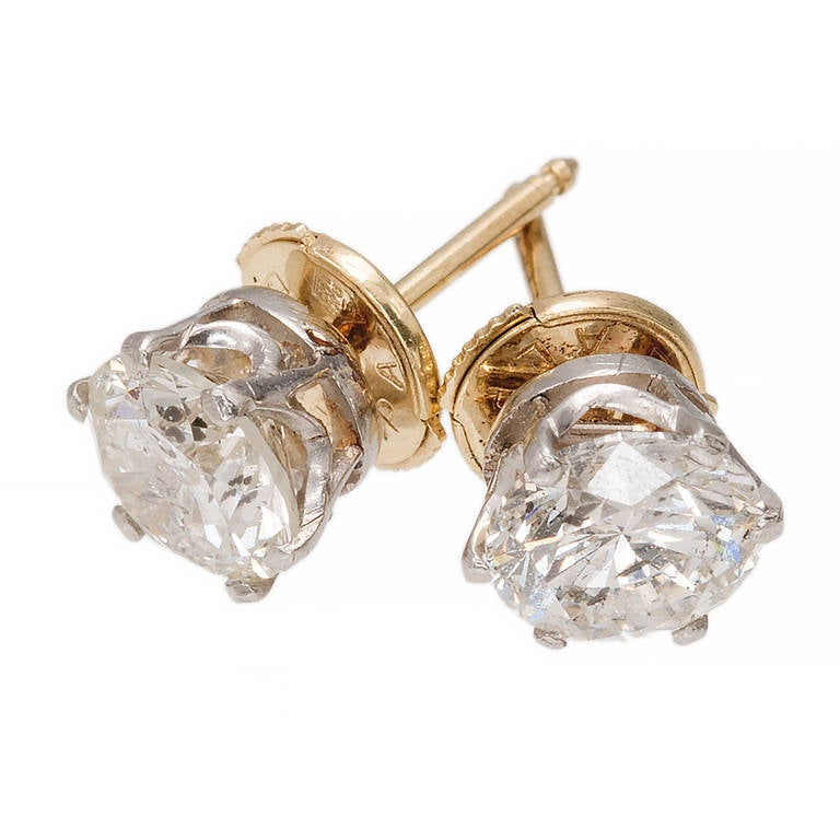Crown Style Diamond Yellow and White Gold Stud Earrings For Sale