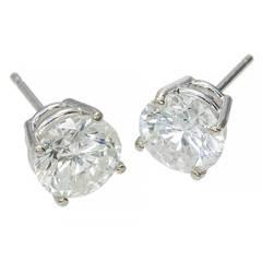 Diamond Basket Stud White Gold Earrings