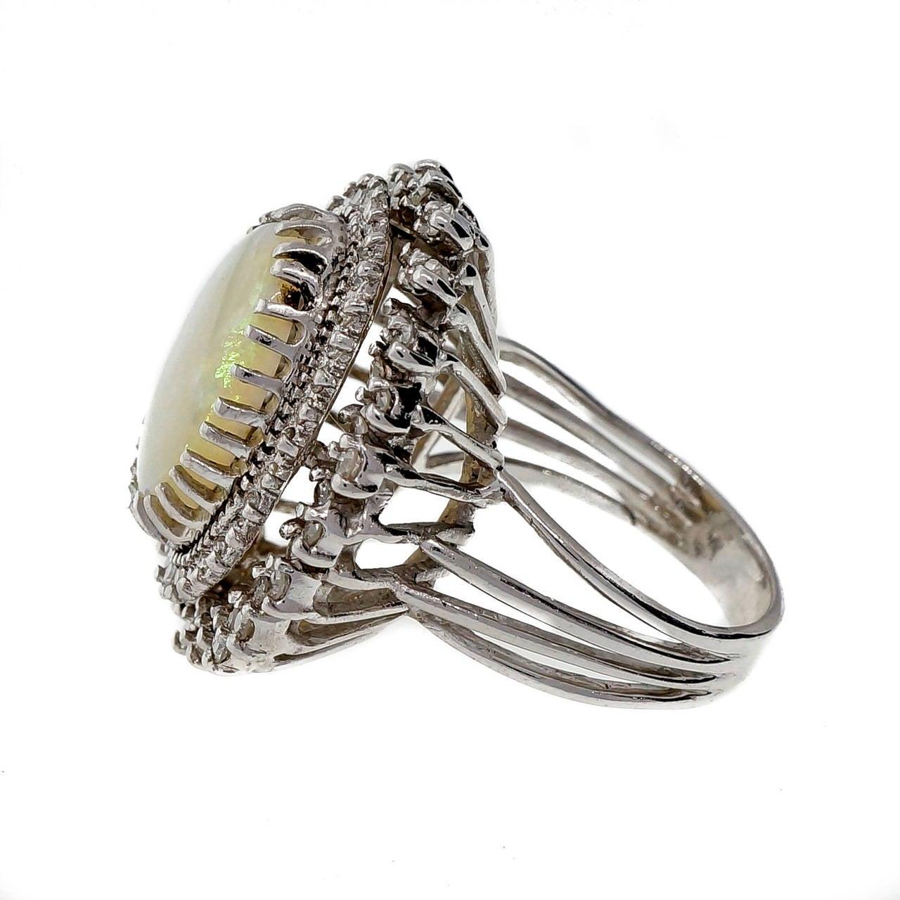 Mid Century Opal Diamond White Gold Ring 2