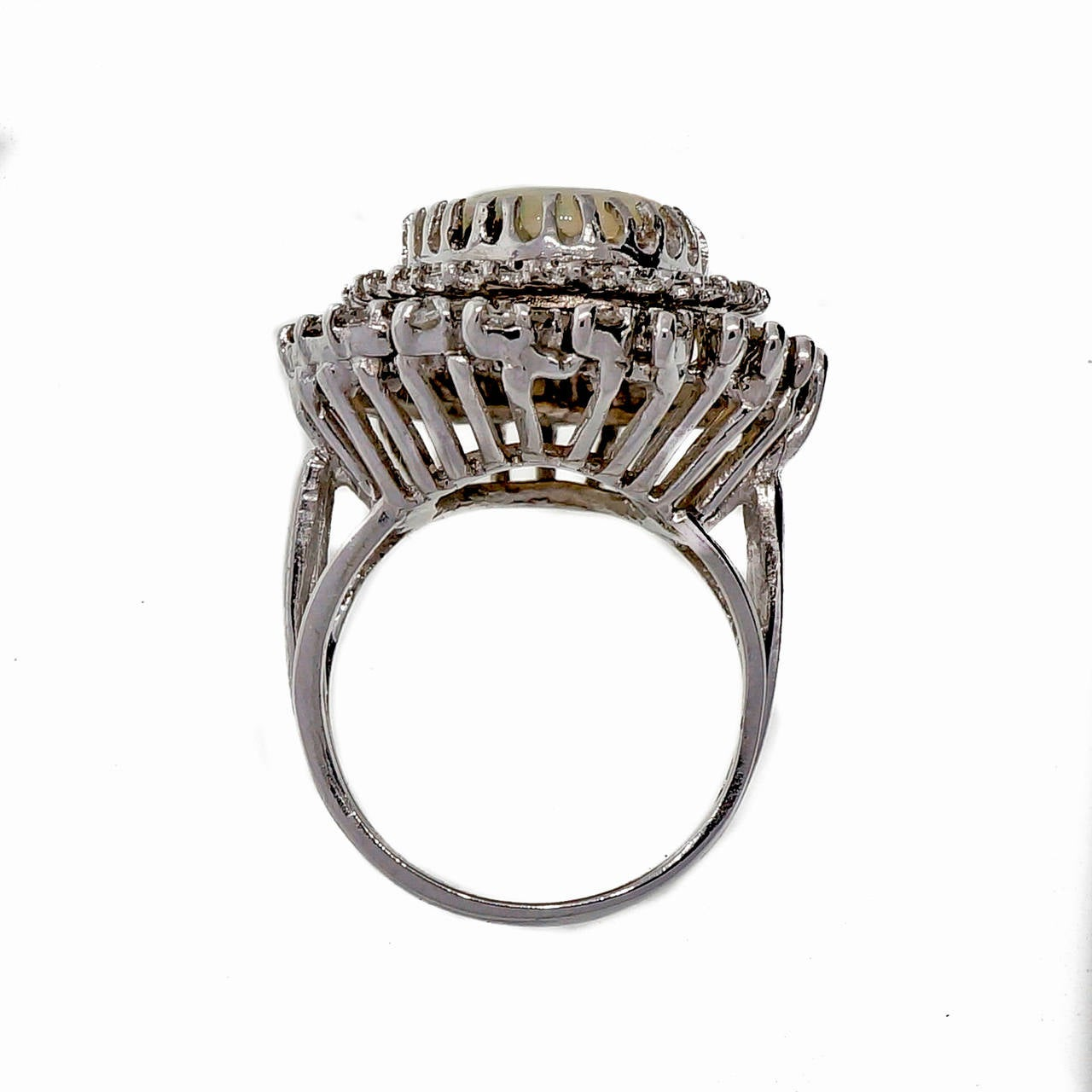 Mid Century Opal Diamond White Gold Ring 3