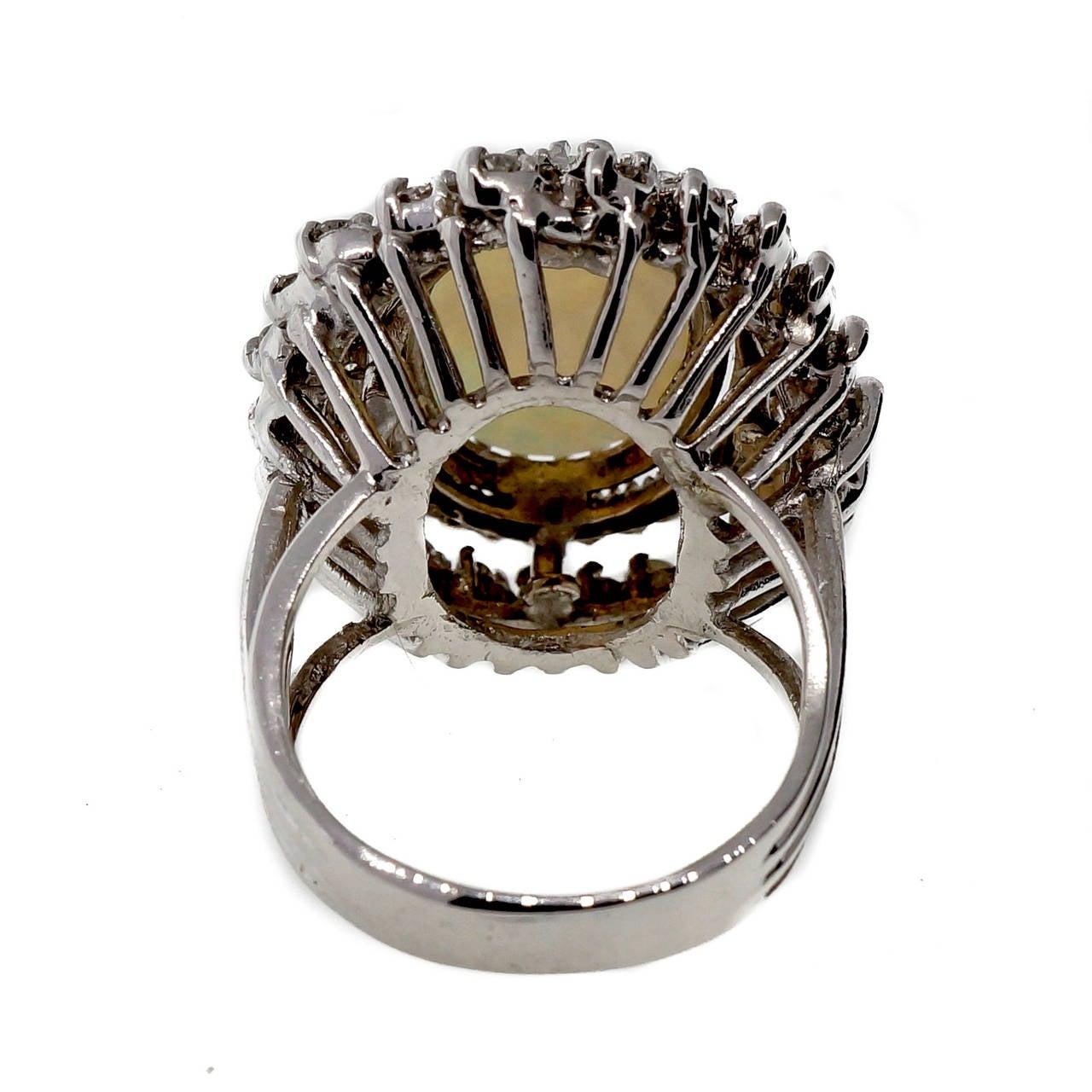 Mid Century Opal Diamond White Gold Ring 4