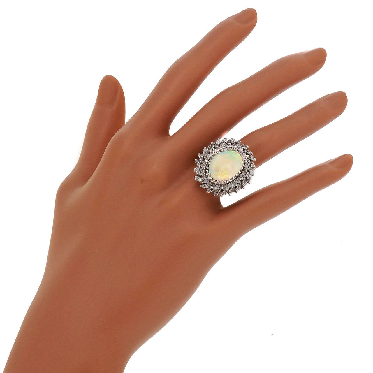 Mid Century Opal Diamond White Gold Ring 6