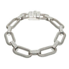 1.73 Carat Diamond White Gold Braided Link Bracelet