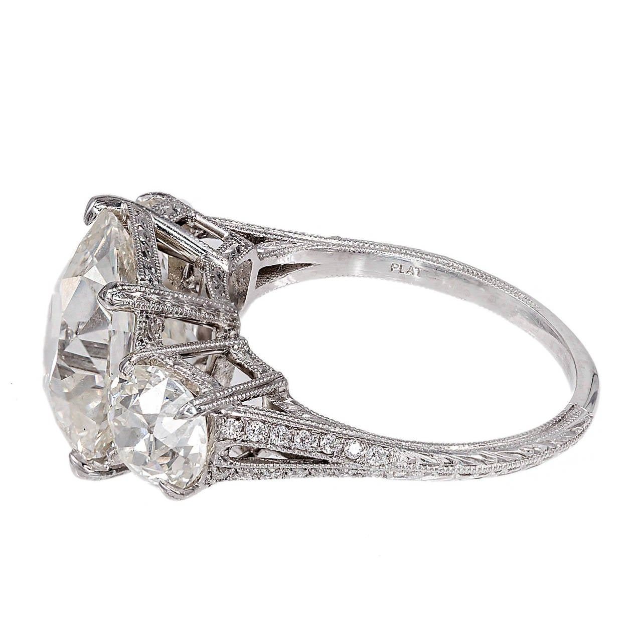 Antique Old Mine Cushion Cut Diamond Platinum Ring For Sale at 1stdibs