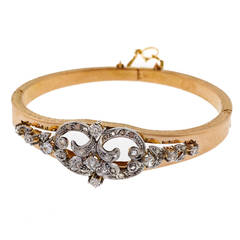 Art Deco Diamond Pink Gold Bangle Bracelet