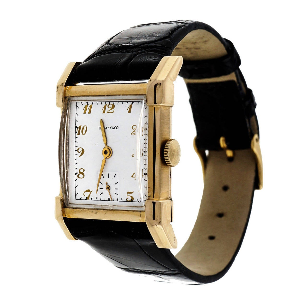Longines Tiffany & Co. Yellow Gold Rectangular Wristwatch