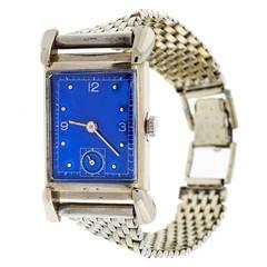 Bulova White Gold Academy Award Wristwatch with Custom-Colored Dial circa 1949