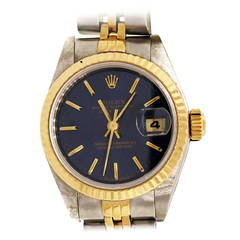 Rolex Lady's Yellow Gold Steel Datejust Wristwatch Ref 69173