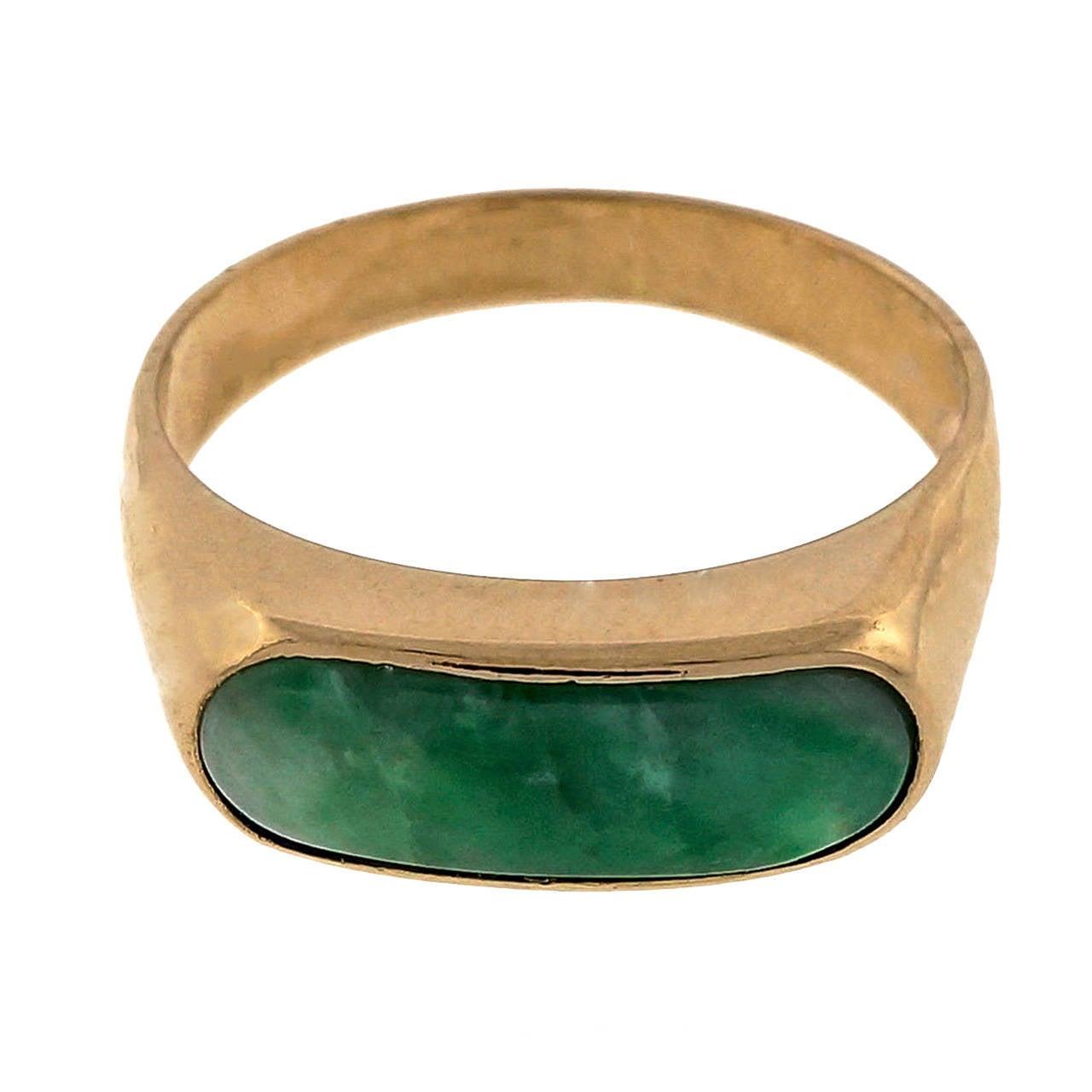 Natural Certified Jadeite Jade Rose Gold Saddle Ring