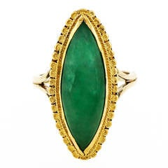 Natural Jadeite Jade Marquise Yellow Gold Ring
