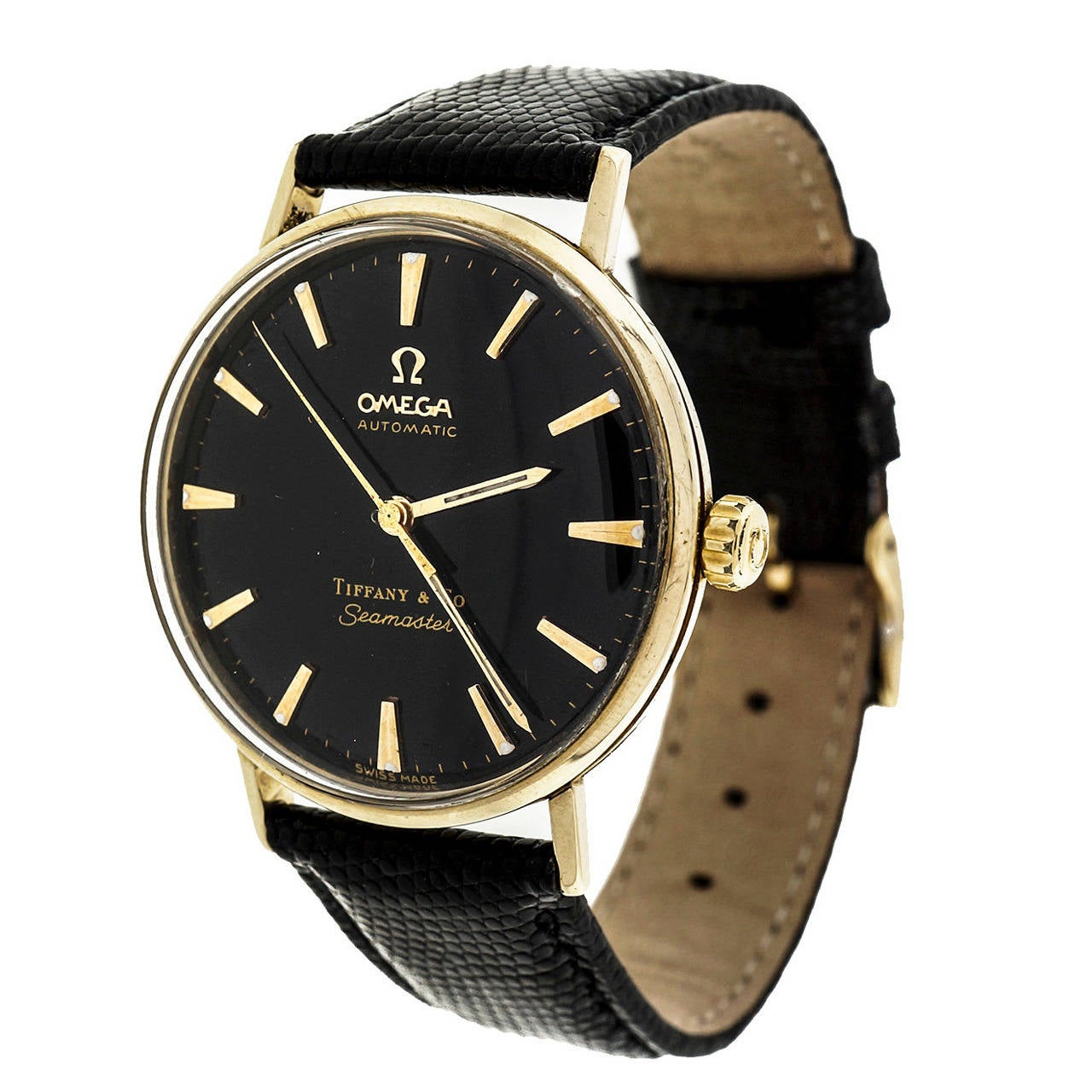 Omega Yellow Gold Seamaster Wristwatch Retailed by Tiffany & Co circa 1960s