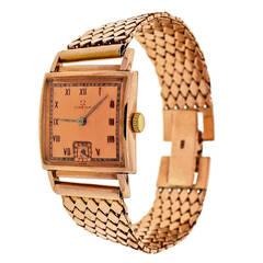 Omega Rose Gold Square Wristwatch, circa 1940s