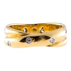 Tiffany & Co. Diamond Gold Platinum Double Band Crossover Ring