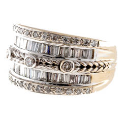 Diamond White Gold Wide Wedding Band Ring