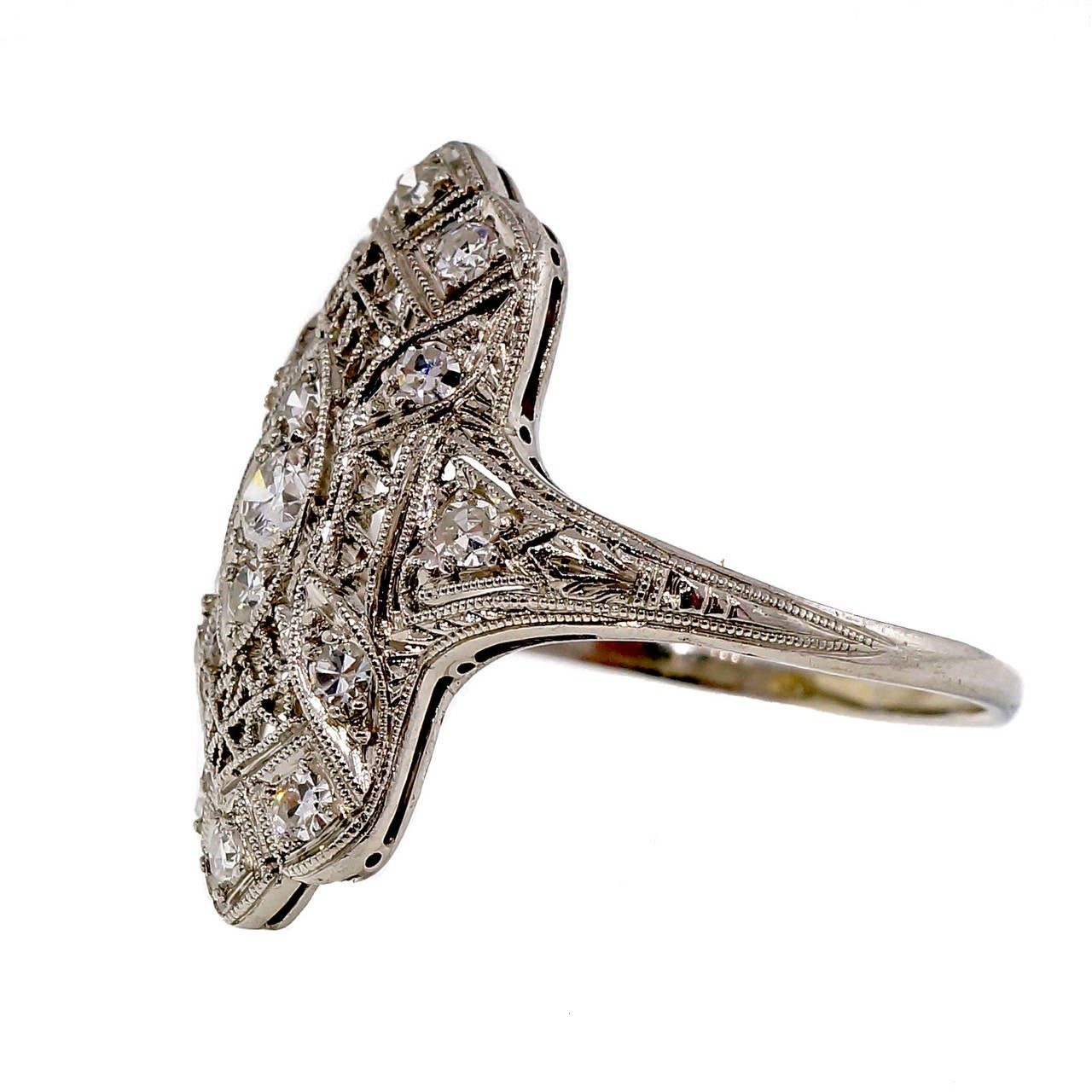 Edwardian Art Deco Diamond Platinum Ring For Sale at 1stdibs